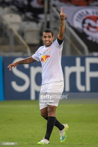Alerrandro of Red Bull Bragantino celebrates a scored goal against Atletico MG during a match between Atletico MG and Red Bull Bragantino as part of...