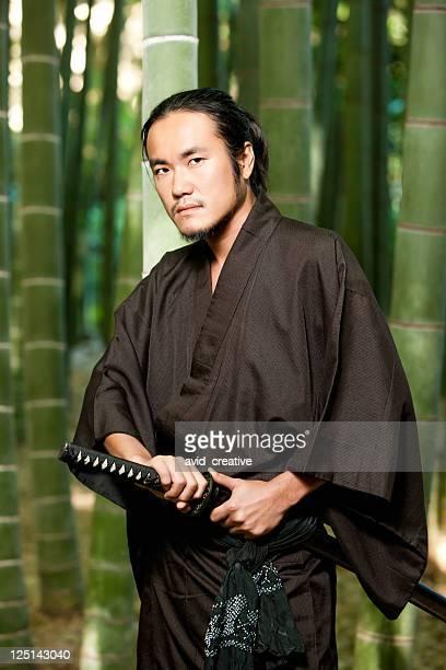 Alert Samauri Warrior in Bamboo Forest