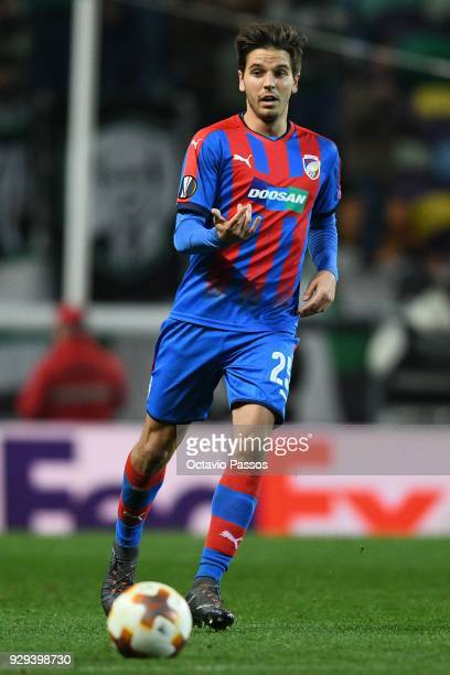 Ales Cermak of Viktoria Plzen in action during the UEFA Europa League Round of 16 first leg match between Sporting Lisbon and Viktoria Plzen at...