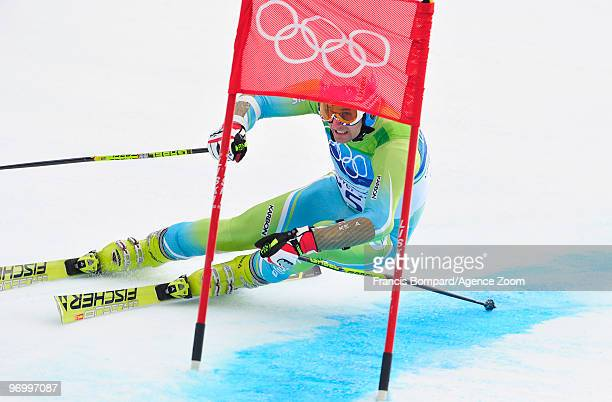 Ales Gorza of Slovenia during the Men's Alpine Skiing Giant Slalom on Day 12 of the 2010 Vancouver Winter Olympic Games on February 23 2010 in...