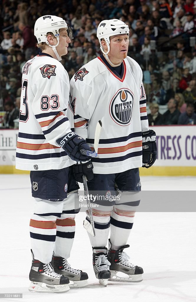 Ales Hemsky #83 and Raffi Torres #14 of the Edmonton Oilers look on during the game against the Colorado Avalanche on October 14, 2006 at the Pepsi Center in Denver, Colorado. The Oilers won 4-3.