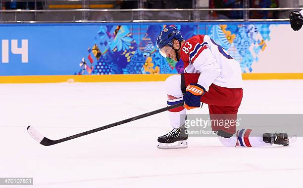 Ales Hemsky of Czech Republic celebrates after scoring in the first period against Slovakia during the Men's Qualification Playoff Game on day 11 of...