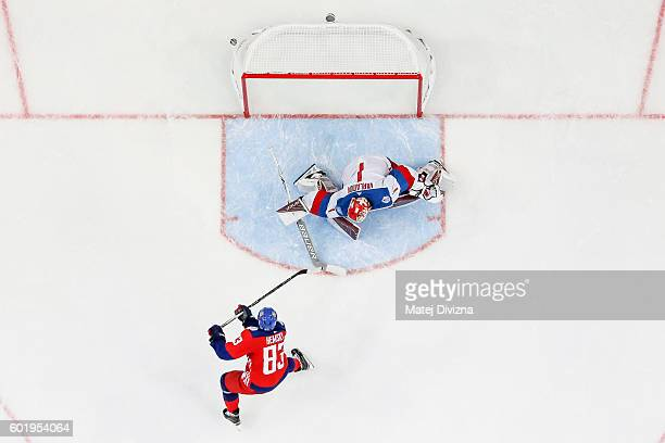 Ales Hemsky of Czech Republic scores decisive penalty over goalkeeper of Russia Semyon Varlamov during the 2016 World Cup of Hockey preparation match...