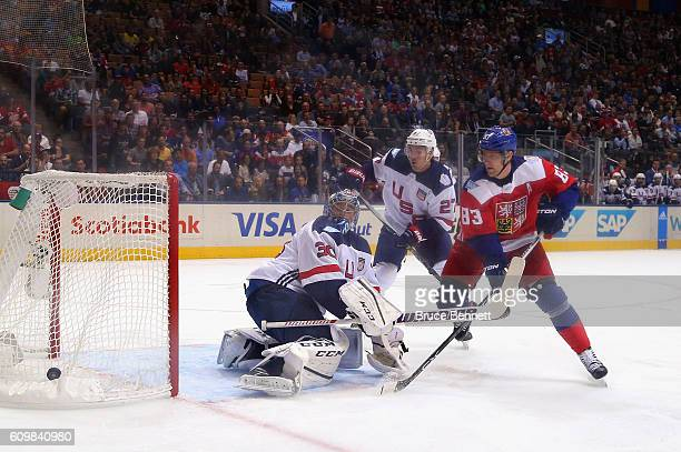 Ales Hemsky of Team Czech Republic shoots wide of Ben Bishop of Team USA during the first period at the World Cup of Hockey tournament at the Air...