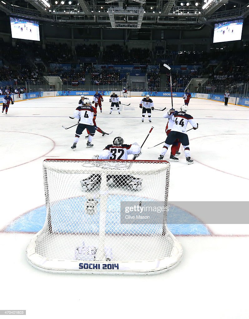 Ales Hemsky #83 of the Czech Republic scores his team's second goal in the third period against Jonathan Quick #32 of the United States during the Men's Ice Hockey Quarterfinal Playoff on Day 12 of the 2014 Sochi Winter Olympics at Shayba Arena on February 19, 2014 in Sochi, Russia.