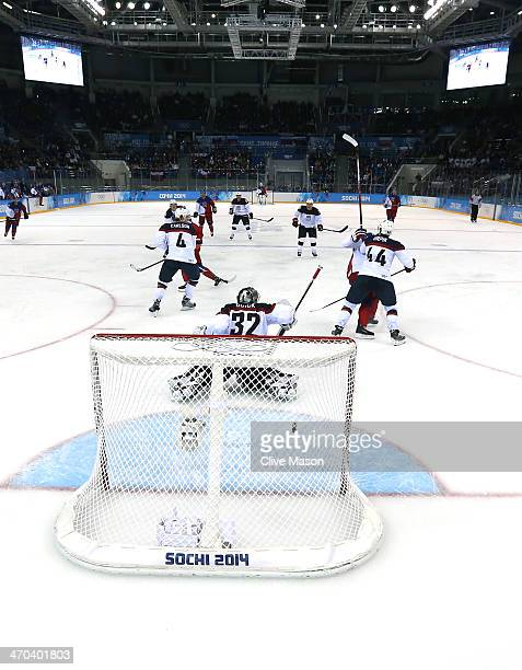 Ales Hemsky of the Czech Republic scores his team's second goal in the third period against Jonathan Quick of the United States during the Men's Ice...
