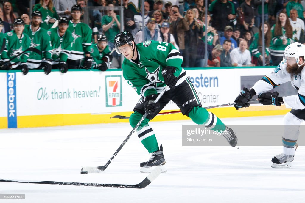 Ales Hemsky #83 of the Dallas Stars handles the puck against the San Jose Sharks at the American Airlines Center on March 20, 2017 in Dallas, Texas.