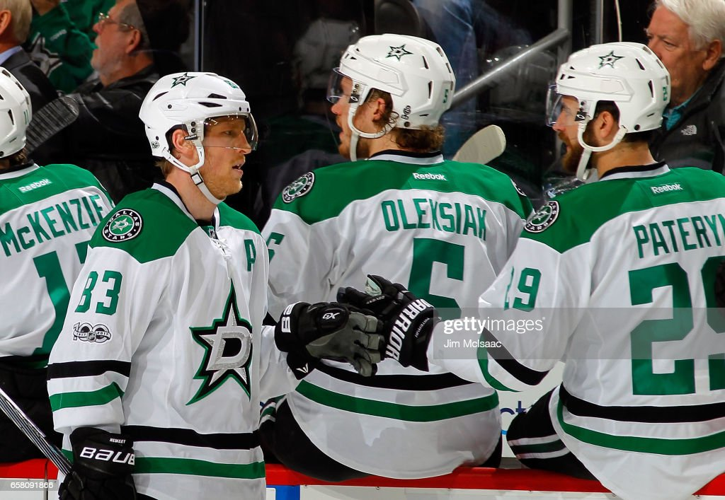 Ales Hemsky #83 of the Dallas Stars is congratulated by his teammates after scoring a third-period goal against the New Jersey Devils on March 26, 2017 at Prudential Center in Newark, New Jersey.