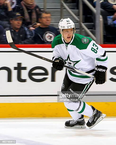 Ales Hemsky of the Dallas Stars keeps an eye on the play during first period action against the Winnipeg Jets on January 31 2015 at the MTS Centre in...