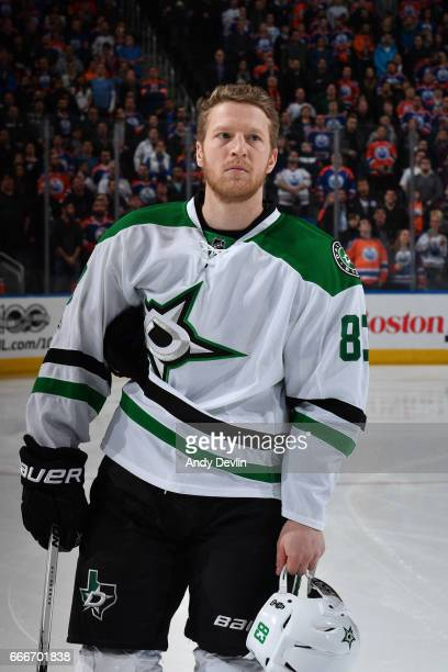 Ales Hemsky of the Dallas Stars stands for the singing of the national anthem prior to the game against the Edmonton Oilers on March 14 2017 at...