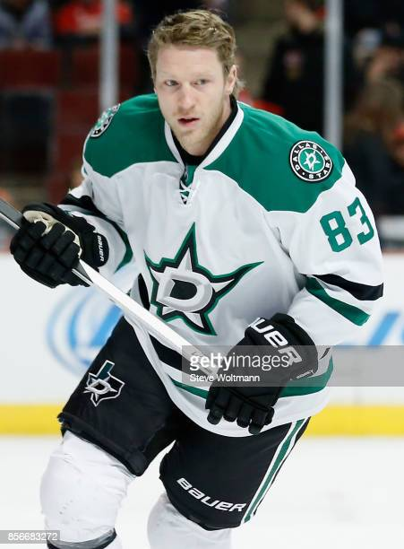 Ales Hemsky of the Dallas Stars warms up prior to a game against the Chicago Blackhawks at the United Center on January 4 2015 in Chicago Illinois