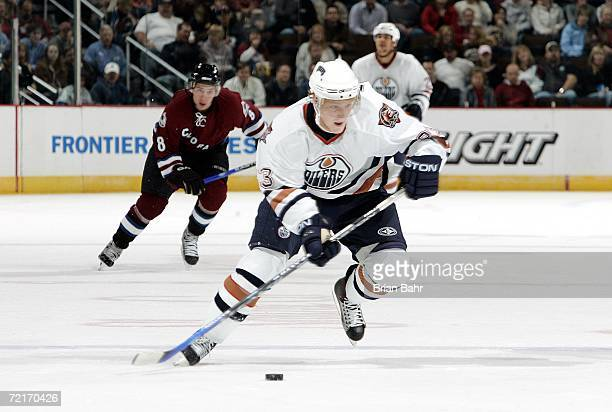 Ales Hemsky of the Edmonton Oilers breaks down the ice against the Colorado Avalanche in the second period on October 14 2006 at the Pepsi Center in...