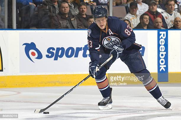 Ales Hemsky of the Edmonton Oilers carries the puck against the Buffalo Sabres at Rexall Place on January 27 2009 in Edmonton Alberta Canada