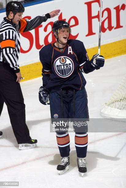 Ales Hemsky of the Edmonton Oilers celebrates during a break in NHL game action against the Calgary Flames at Rexall Place on February 4 2008 in...
