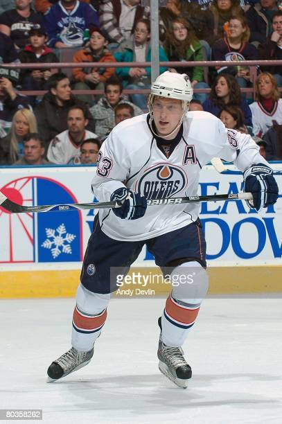 Ales Hemsky of the Edmonton Oilers follows the play during a game against the Vancouver Canucks at Rexall Place on March 20 2008 in Edmonton Alberta...