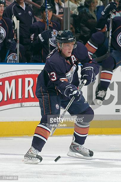 Ales Hemsky of the Edmonton Oilers makes a pass during a game against the San Jose Sharks on October 4 2007 at Rexall Place in Edmonton Alberta...