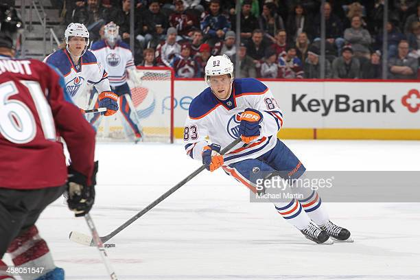 Ales Hemsky of the Edmonton Oilers skates against the Colorado Avalanche at the Pepsi Center on December 19 2013 in Denver Colorado The Avalanche...