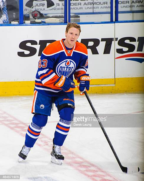 Ales Hemsky of the Edmonton Oilers skates against the Phoenix Coyotes during an NHL game at Rexall Place on December 3 2013 in Edmonton Alberta...