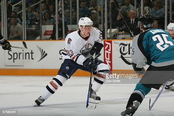 Ales Hemsky of the Edmonton Oilers skates with the puck during Game 2 of the Western Conference Semifinals against the San Jose Sharks on May 8, 2006...