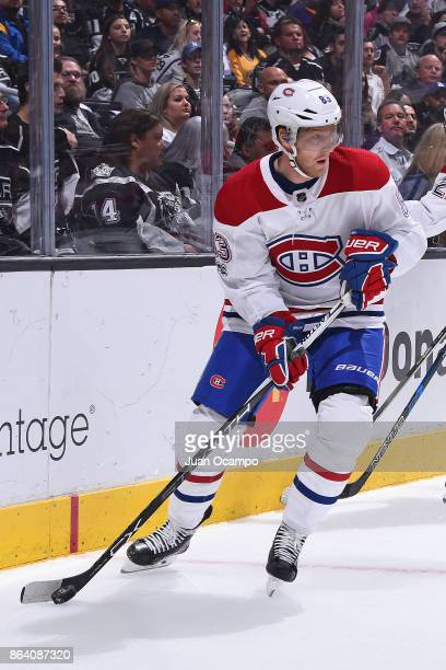 Ales Hemsky of the Montreal Canadiens handles the puck during a game against the Los Angeles Kings at STAPLES Center on October 18 2017 in Los...