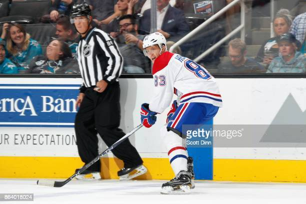 Ales Hemsky of the Montreal Canadiens looks during a NHL game against the San Jose Sharks at SAP Center on October 17 2017 in San Jose California