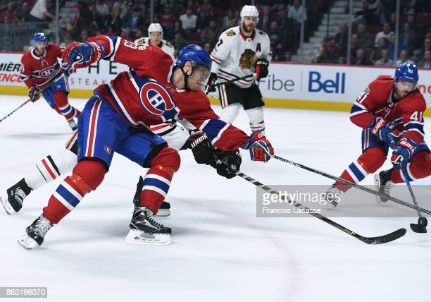 Ales Hemsky of the Montreal Canadiens loses control of the puck against the Chicago Blackhawks in the NHL game at the Bell Centre on October 10 2017...