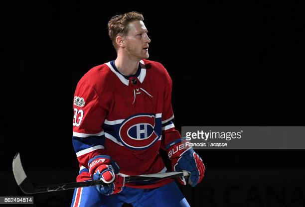Ales Hemsky of the Montreal Canadiens skates during the game presentation prior the NHL game against the Chicago Blackhawks at the Bell Centre on...