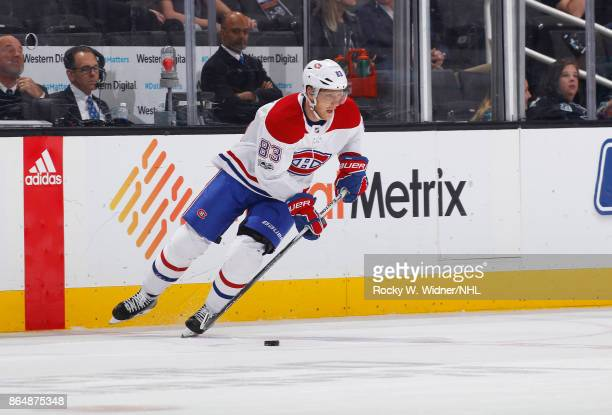 Ales Hemsky of the Montreal Canadiens skates with the puck against the San Jose Sharks at SAP Center on October 17 2017 in San Jose California