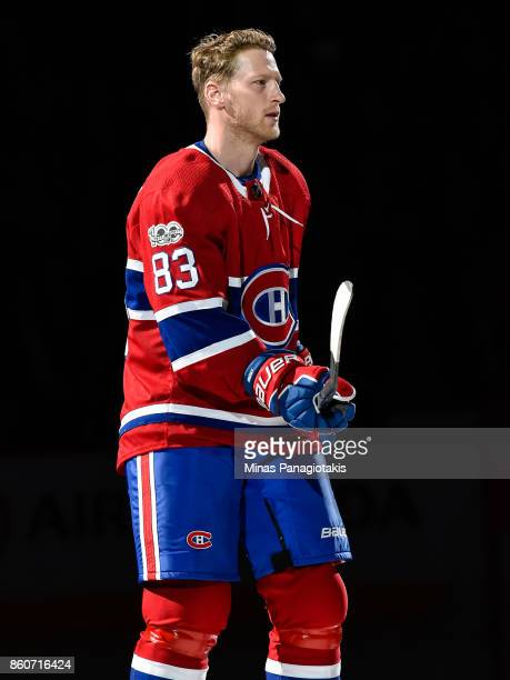 Ales Hemsky of the Montreal Canadiens takes to the ice during the pre game ceremony prior to the NHL game against the Chicago Blackhawks at the Bell...