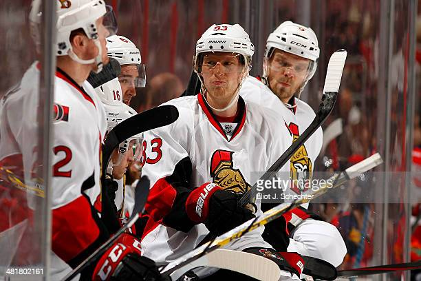Ales Hemsky of the Ottawa Senators gets ready to jump back in for a shift against the Florida Panthers at the BBT Center on March 25 2014 in Sunrise...