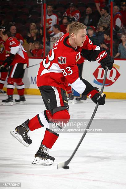 Ales Hemsky of the Ottawa Senators shoots the puck during warmup prior to their game against the Calgary Flames at Canadian Tire Centre on March 30...