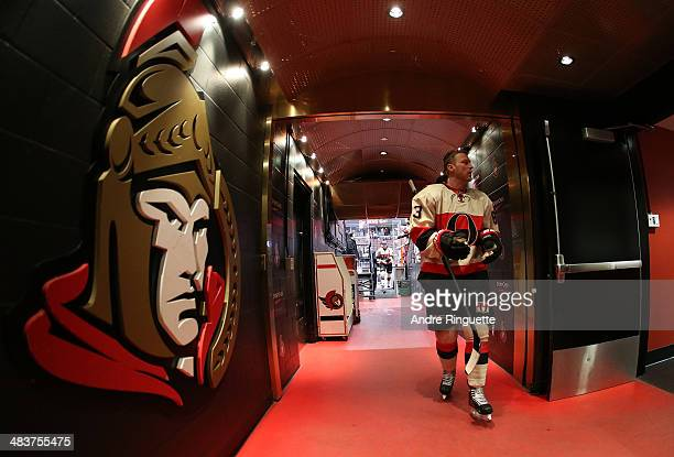Ales Hemsky of the Ottawa Senators walks down the players' tunnel after warmup prior to a game against the Montreal Canadiens at Canadian Tire Centre...