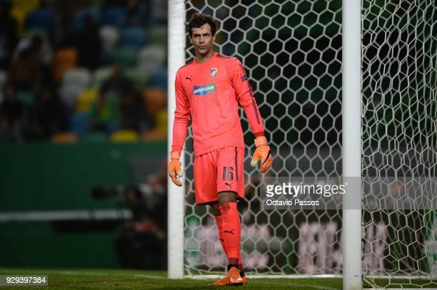 Ales Hruska of Viktoria Plzen in action during the UEFA Europa League Round of 16 first leg match between Sporting Lisbon and Viktoria Plzen at...