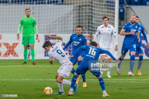 Ales Nesicky of FC Slovan Liberec and Sebastian Rudy of TSG 1899 Hoffenheim battle for the ball during the UEFA Europa League Group L stage match...