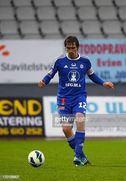 Ales Skerle of SK Sigma Olomouc in action during the Czech First League match between FK Jablonec and SK Sigma Olomouc held on May 26, 2013 at the...