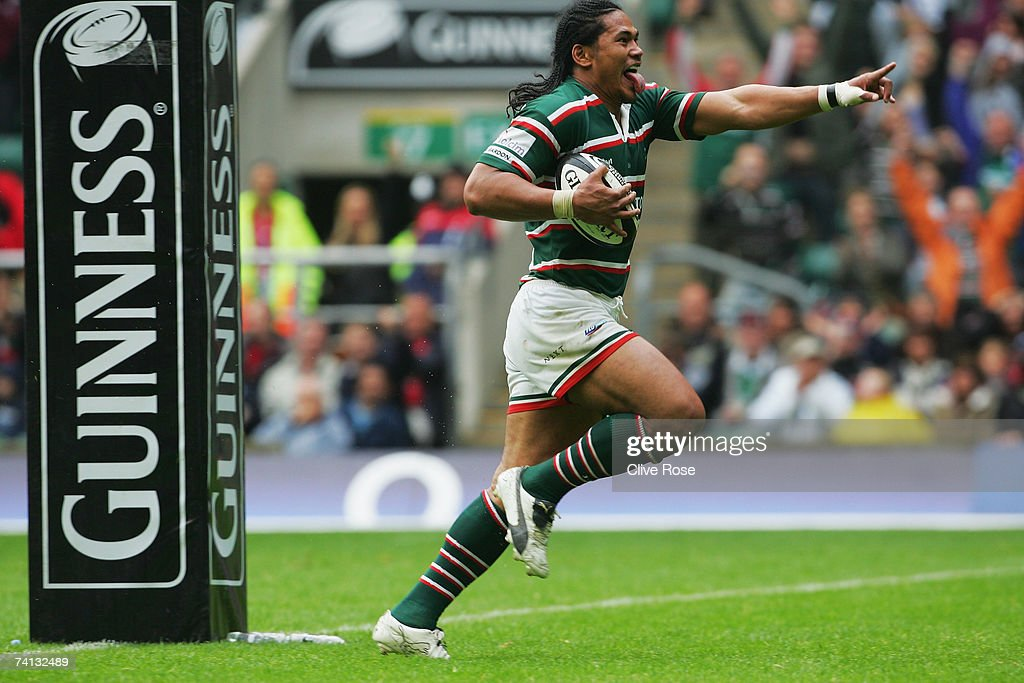 Alesana Tuilagi of Leicester celebrates after scoring his team's fifth try during the Guinness Premiership final between Gloucester and Leicester Tigers at Twickenham on May 12, 2007 in London, England.