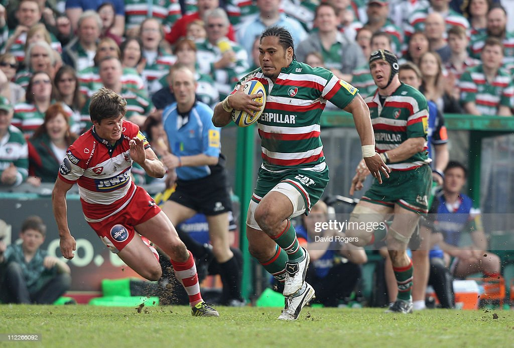 Alesana Tuilagi of Leicester races clear to score his second try during the Aviva Premiership match between Leicester Tigers and Gloucester at Welford Road on April 16, 2011 in Leicester, England.