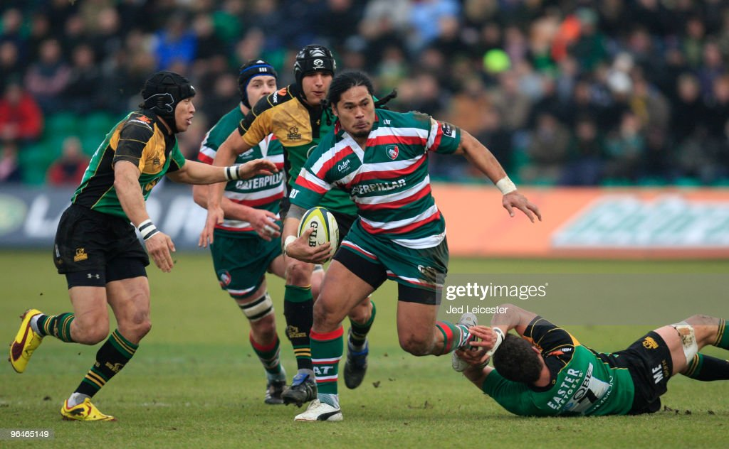 Alesana Tuilagi of Leicester Tigers escapes from the tackle from Ben Woods of Northampton Saints during the LV Anglo Welsh Cup match between Northampton Saints and Leicester Tigers at the Sixfields Stadium, on February 6, 2010 in Northampton, England.