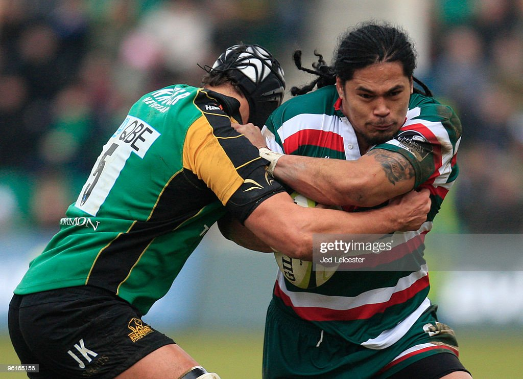 Alesana Tuilagi of Leicester Tigers is tackled by Juandre Kruger of Northampton Saints during the LV Anglo Welsh Cup match between Northampton Saints and Leicester Tigers at the Sixfields Stadium, on February 6, 2010 in Northampton, England.