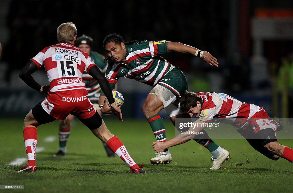 Alesana Tuilagi of Leicester Tigers moves away from Jonny May during the Aviva Premiership match between Gloucester and Leicester Tigers at Kingsholm on October 30, 2010 in Gloucester, England.
