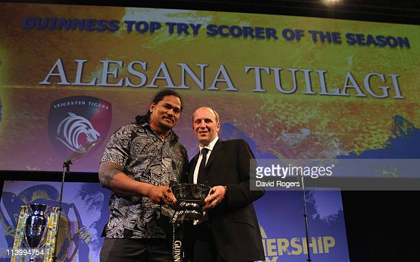 Alesana Tuilagi of Leicester Tigers receives the Guinness Top Try Scorer of the Season award from Paul Cornell of Diageo during the Aviva Premiership...