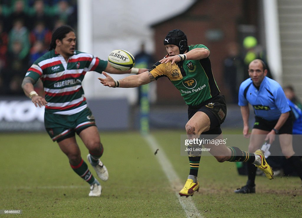Alesana Tuilagi of Leicester Tigers shadows Bruce Reihana of Northampton Saints, on his 200th club appearance, as he passes from touch to himself during the LV Anglo Welsh Cup match between Northampton Saints and Leicester Tigers at the Sixfields Stadium, on February 6, 2010 in Northampton, England.