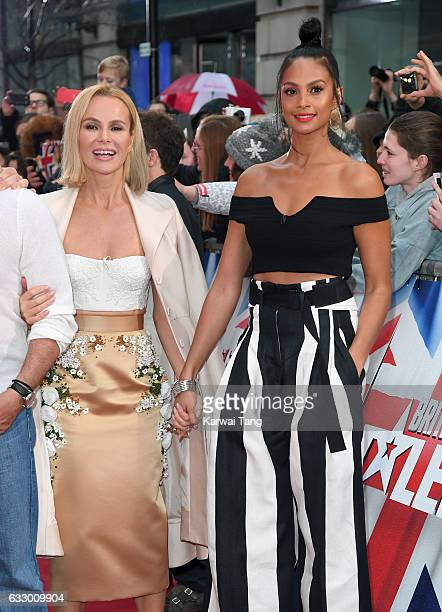 Alesha Dixon and Amanda Holden arrive for the Britain's Got Talent London Auditions on January 29 2017 at the London Palladium London United Kingdom