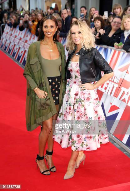 Alesha Dixon and Amanda Holden attend Britain's Got Talent London auditions at London Palladium on January 28 2018 in London England