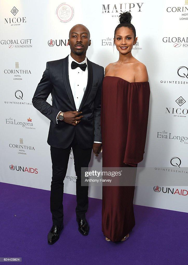 Alesha Dixon and Azuka Ononye attend the Global Gift Gala London on November 19, 2016 in London, United Kingdom.