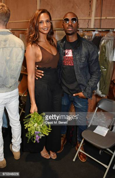 Alesha Dixon and Azuka Ononye attend the Oliver Spencer Catwalk Show SS 2019 during London Fashion Week Men's June 2018 at 180 The Strand on June 9...