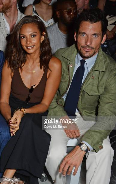 Alesha Dixon and David Gandy attend the Oliver Spencer Catwalk Show SS 2019 during London Fashion Week Men's June 2018 at 180 The Strand on June 9...
