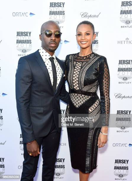 Alesha Dixon and husband Azuka Ononye attend the 2nd annual Jersey Style Awards in association with Bentley Motors, Chopard and Ortac Aviation to...