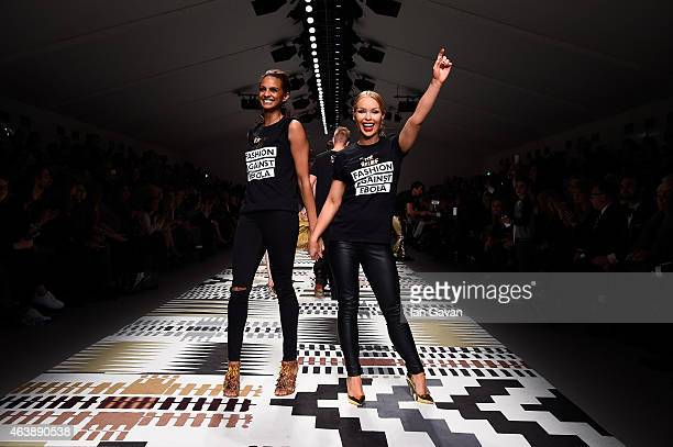 Alesha Dixon and Katie Piper walk the runway at the Fashion For Relief charity fashion show to kick off London Fashion Week Fall/Winter 2015/16 at...