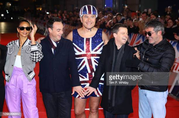 Alesha Dixon Ant McPartlin David Walliams Declan Donnelly and Simon Cowell arrive at the Britain's Got Talent 2019 auditions held at London Palladium...